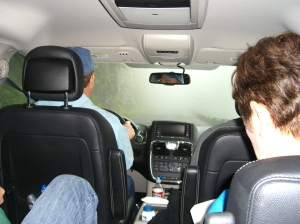 "Driving through the clouds/fog in our rented ""swagger wagon."""